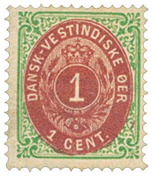 1874-79 Danish West Indies 1c gr, rose