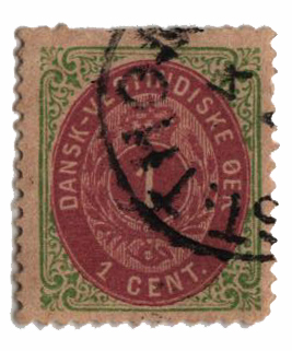 1874-79 1c Danish West Indies,grn&redvio