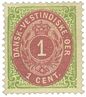 1874-79 1c Danish West Indies,grn&claret