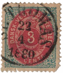 1874-79 3c Danish West Indies, light blue & rose carmine