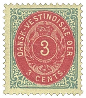 1874-79 3c Danish West Indies,blue&carmn