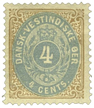 1874-79 4c Danish West Indies,brwn&dblue