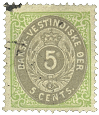 1874-79 5c Danish West Indies,grn&gray