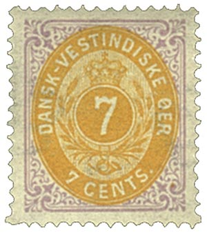 1874-79 7c Danish West Indies,lilac&oran