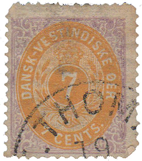 1874-79 Danish West Indies 7c inverted