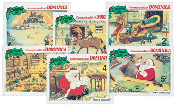 1981 Disneys Santas Workshop, Mint, Set of 6 Stamps, Dominica