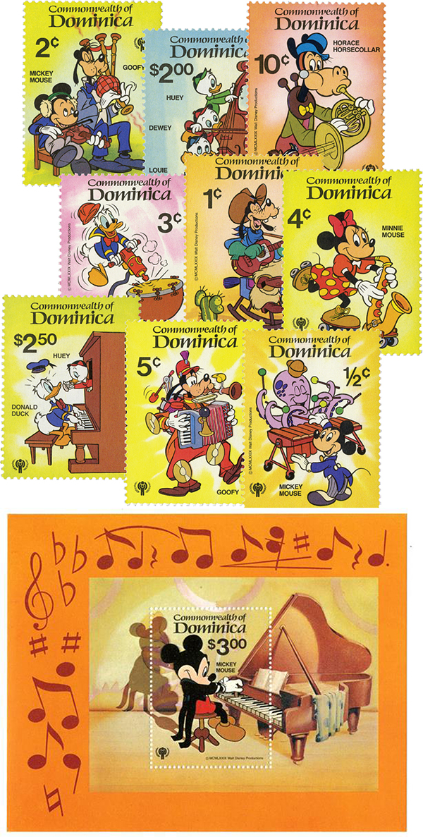 1979 Disneys International Year of The Child - Music Scenes, Mint, Set of 9 Stamps and Souvenir Sheet, Dominica