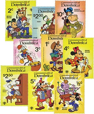 Dominica 1979 Music Scenes, 9 Stamps