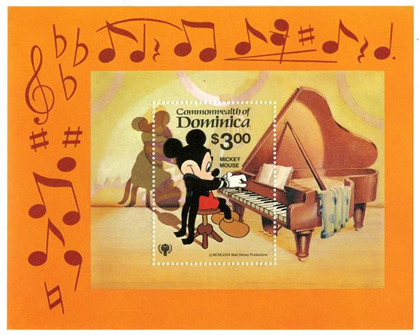 1979 Disneys International Year of The Child - Music Scenes, Mint Souvenir Sheet, Dominica
