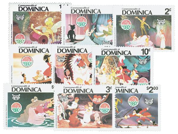 Dominica 1980 Peter Pan, 9 Mint Stamps