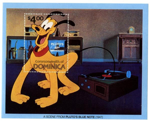 1981 Disney Celebrates Plutos 50 Anniversary, Mint Souvenir Sheet, Dominica