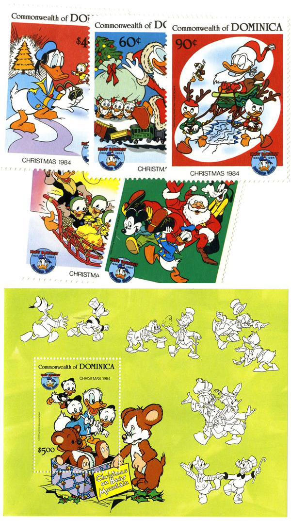 1984 Disney Christmas Celebrates Donald Ducks 50th Birthday, Mint, Set of 5 Stamps and Souvenir Sheet, Dominica