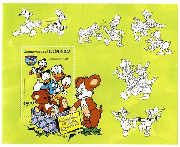1984 Disney Christmas Celebrates Donald Ducks 50th Birthday Mint, Souvenir Sheet, Dominica