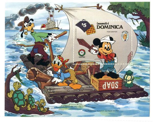 1985 Disney Friends Celebrate Christmas, Mint Souvenir Sheet, Dominica