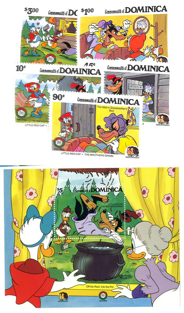 1985 Disney Friends Celebrate Christmas, Mint, Set of 5 Stamps and Souvenir Sheet, Dominica