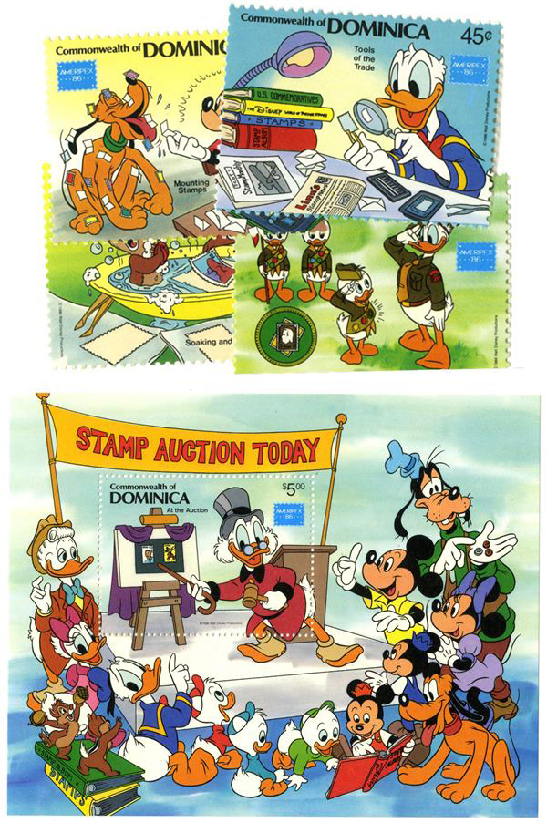 1986 Disney Friends At AMERIPEX Stamp Show, Mint, Set of 4 Stamps and Souvenir Sheet, Dominica