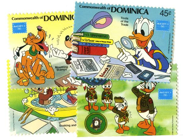 1986 Disney Friends At AMERIPEX Stamp Show, Mint, Set of 4 Stamps, Dominica