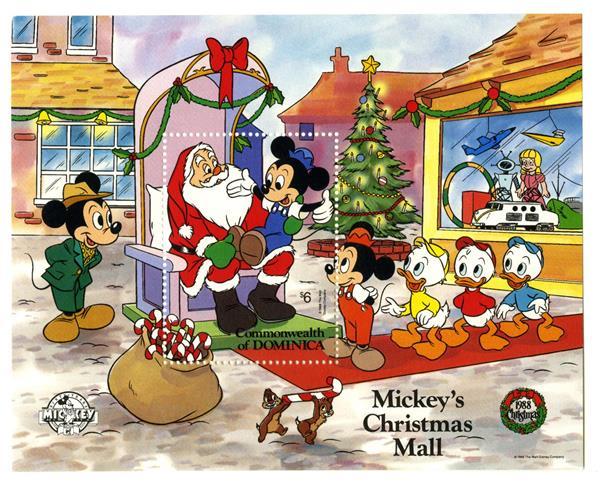 1988 Disney Christmas Celebrates Mickeys 60th Anniversary, Mint Souvenir Sheet, Dominica