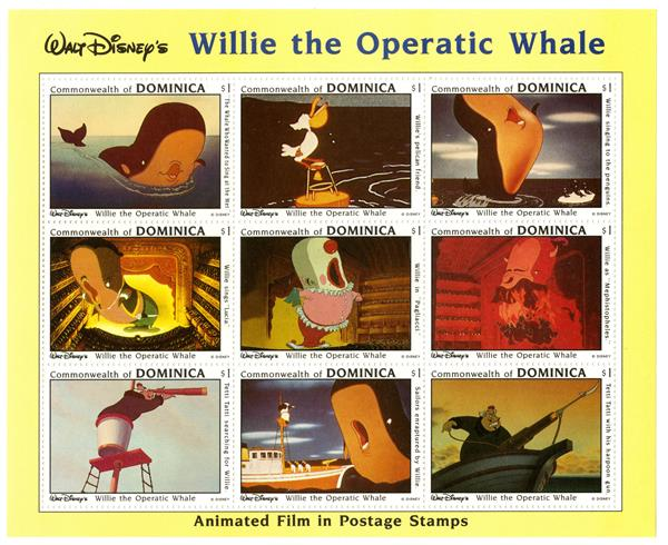 Dominica 1993 Willie the Whale, 9 Stamps