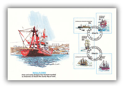 1979 Australian Antarctic Territory 'Ships of Discovery' Presentation Card with 5 stamps