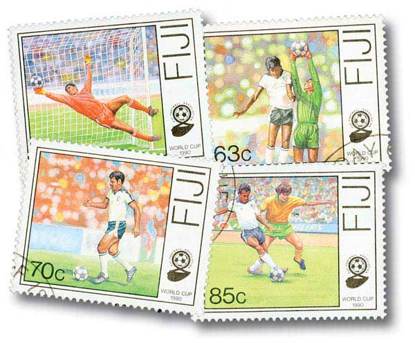 Fiji 1990 World Cup Soccer,4 Used stamps
