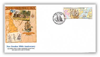 """1988 Finland """"New Sweden"""" First Day Cover"""