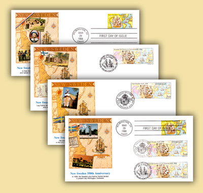 1988 USA, Finland, Sweden Joint Issue Set of 4 Fisrt Day Covers