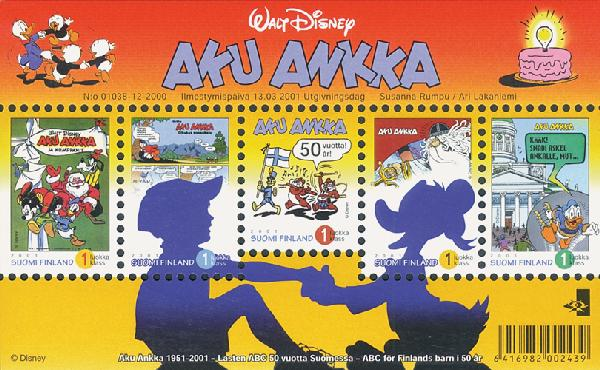2001 Disney S/Sof 5 stamps Finland