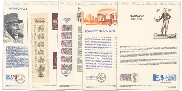 Official French Philatelic Documents - set of 5