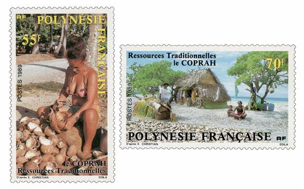 1989 French Polynesia - 70f & 55f 'Forbidden' Stamp
