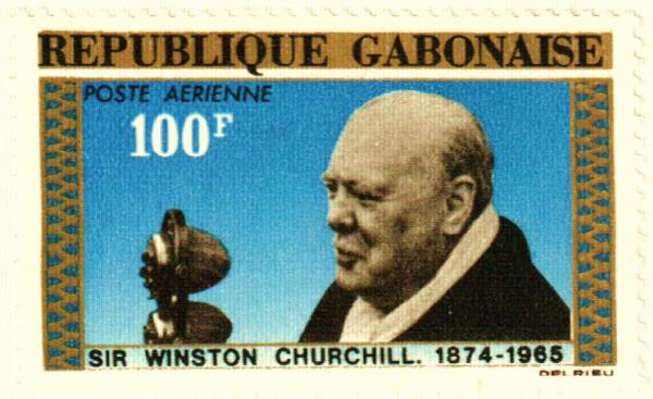 Gabon #C38 – Churchill sought work in the most dangerous military zones and was the highest-paid war correspondent of his time.