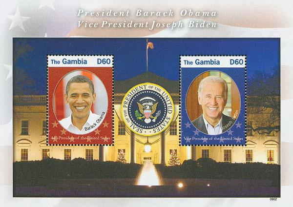 2009 60d President Obama and Vice President Biden, Mint Souvenir Sheet, Gambia
