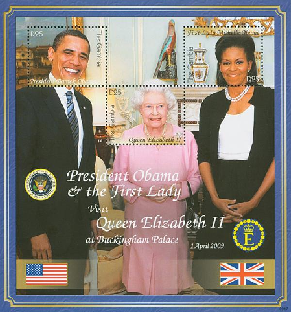 2009 Gambia Pres. Obama & Queen Sheet M