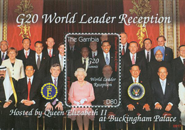 2009 Gambia Pres. Obama & Queen s/s Mint