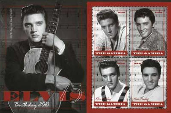 2010 Gambia Elvis 75th Birthday 4v Mint