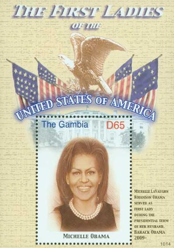 2010 Gambia - First Lady Michelle Obama Souvenir Sheet