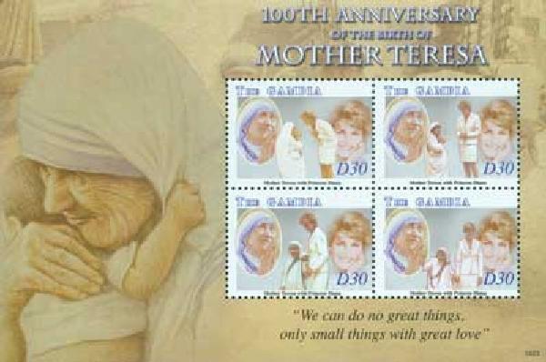 2010 Gambia Mother Teresa 4v Mint