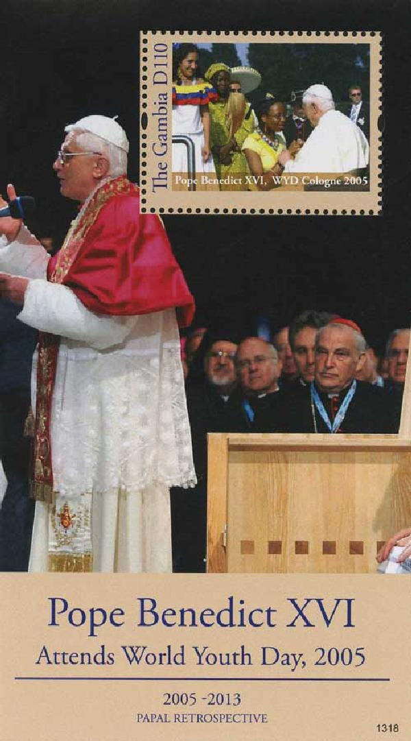 2013 D110 Pope Benedict XVI Attends World Youth Day 2005, Mint Souvenir Sheet, Gambia
