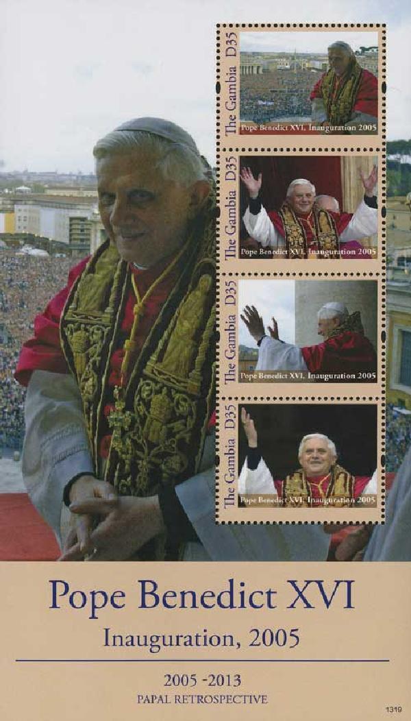 2013 D35 Pope Benedict XVI Inauguration, Mint Souvenir Sheet, Gambia