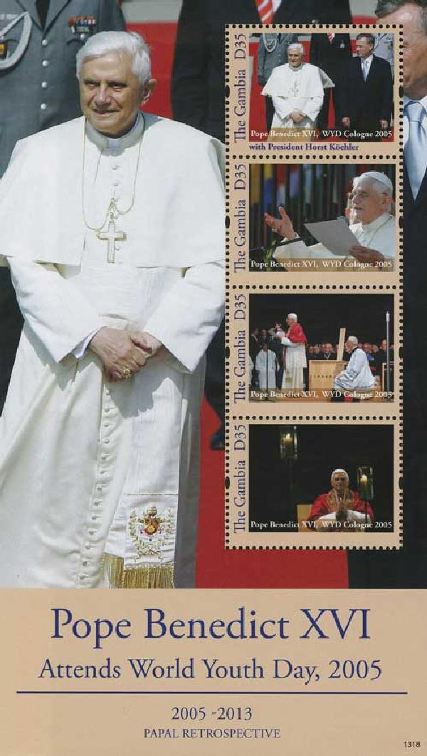 2013 D35 Pope Benedict XVI Attends World Youth Day 2005, Mint Souvenir Sheet, Gambia