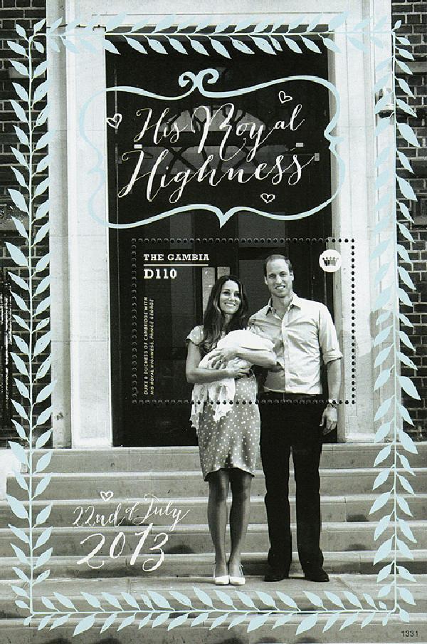 2013 D110 William & Kate Holding Prince George on Hospital Steps