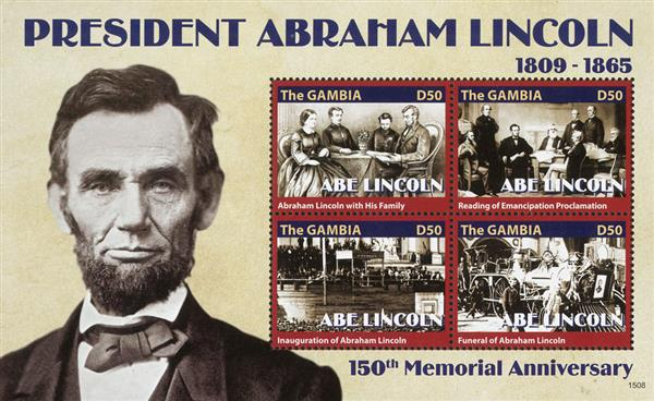 2015 D50 Abraham Lincoln - 150th Memorial Anniversary, Mint Sheet of 4 Stamps, Gambia