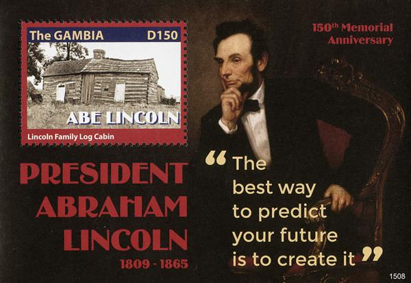 2015 D150 Abraham Lincoln - 150th Memorial Anniversary, Mint Souvenir Sheet, Gambia