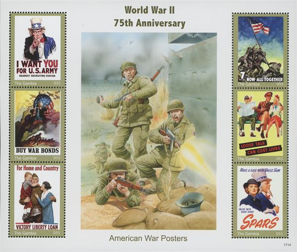2017 D55 War Posters-WWII 75th Anniversary Mint Sheet of 6 Stamps, Gambia