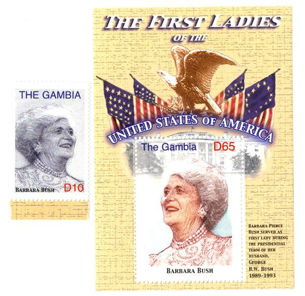 2007 First Lady Barbara Bush s/s & single stamp