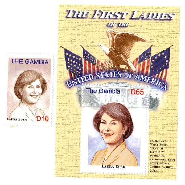 2007 First Lady Laura Bush s/s & single stamp