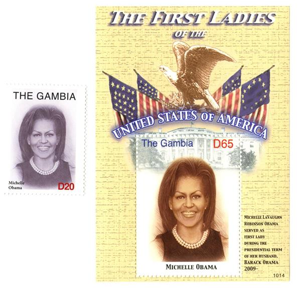 2010 First Lady Michelle Obama s/s & single stamp