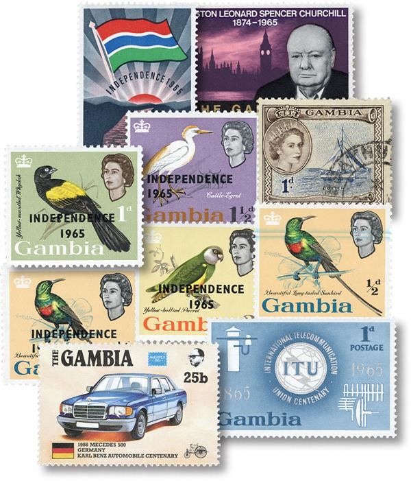 Gambia 10 Different Stamps