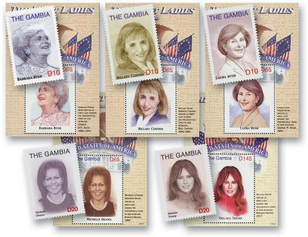 Gambia 1st Ladies Set of 5 Souvenir Sheets and Singles