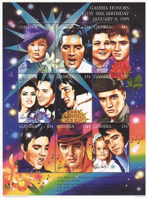 Gambia Elvis 60th Birthday Mint Sheet